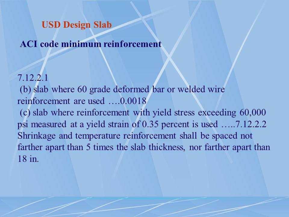 USD Design Slab ACI code minimum reinforcement. 7.12.2.1. (b) slab where 60 grade deformed bar or welded wire reinforcement are used ….0.0018.