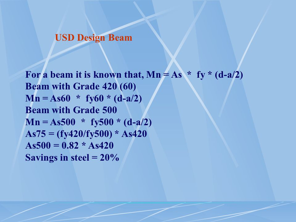 USD Design Beam For a beam it is known that, Mn = As * fy * (d-a/2) Beam with Grade 420 (60) Mn = As60 * fy60 * (d-a/2)