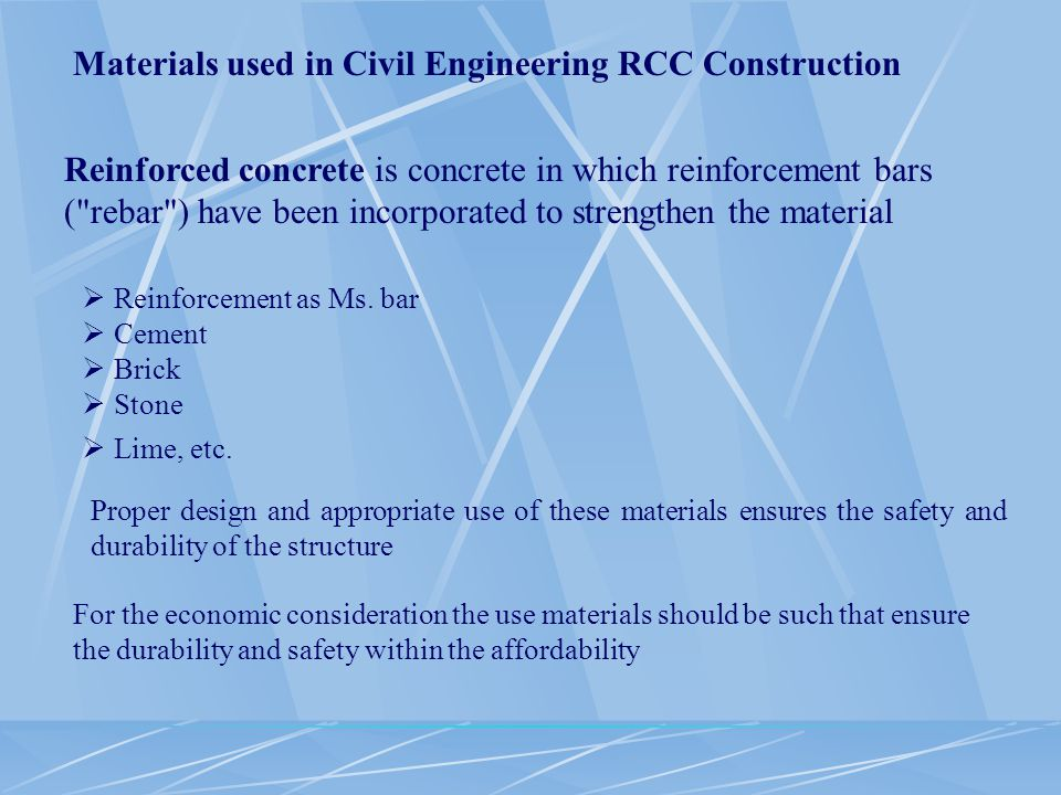 Materials used in Civil Engineering RCC Construction