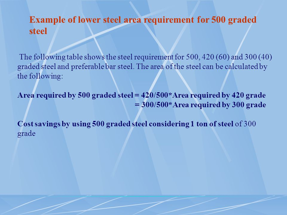 Example of lower steel area requirement for 500 graded steel