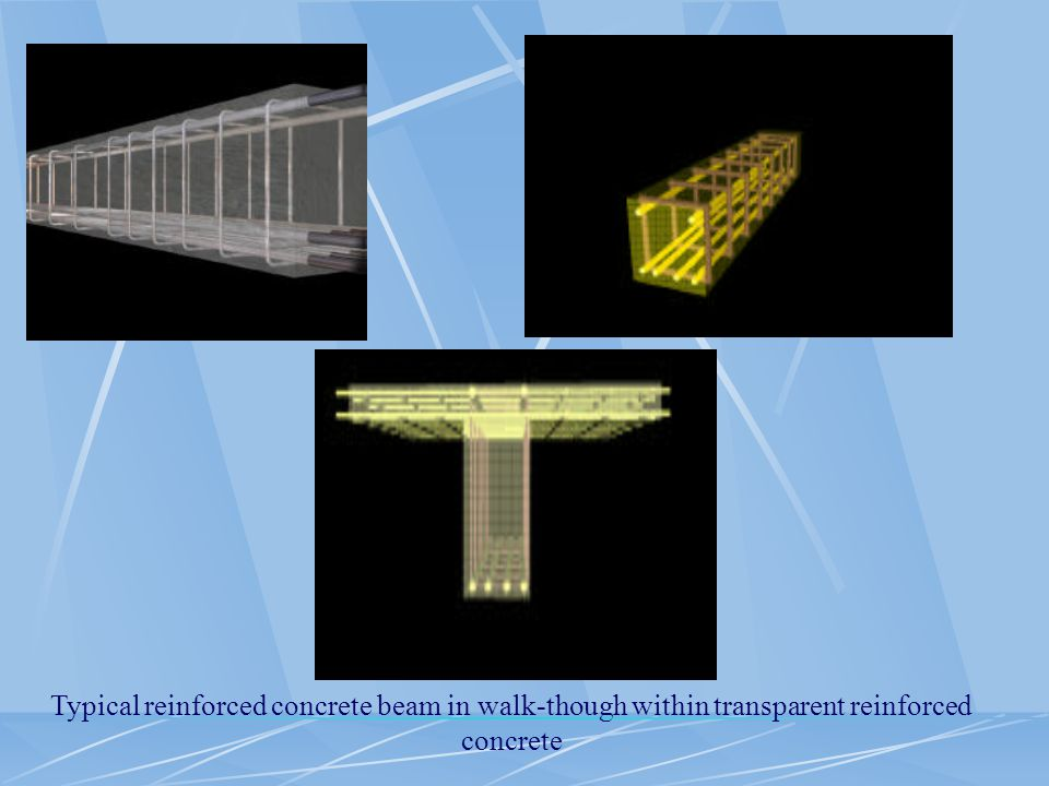 Typical reinforced concrete beam in walk-though within transparent reinforced concrete