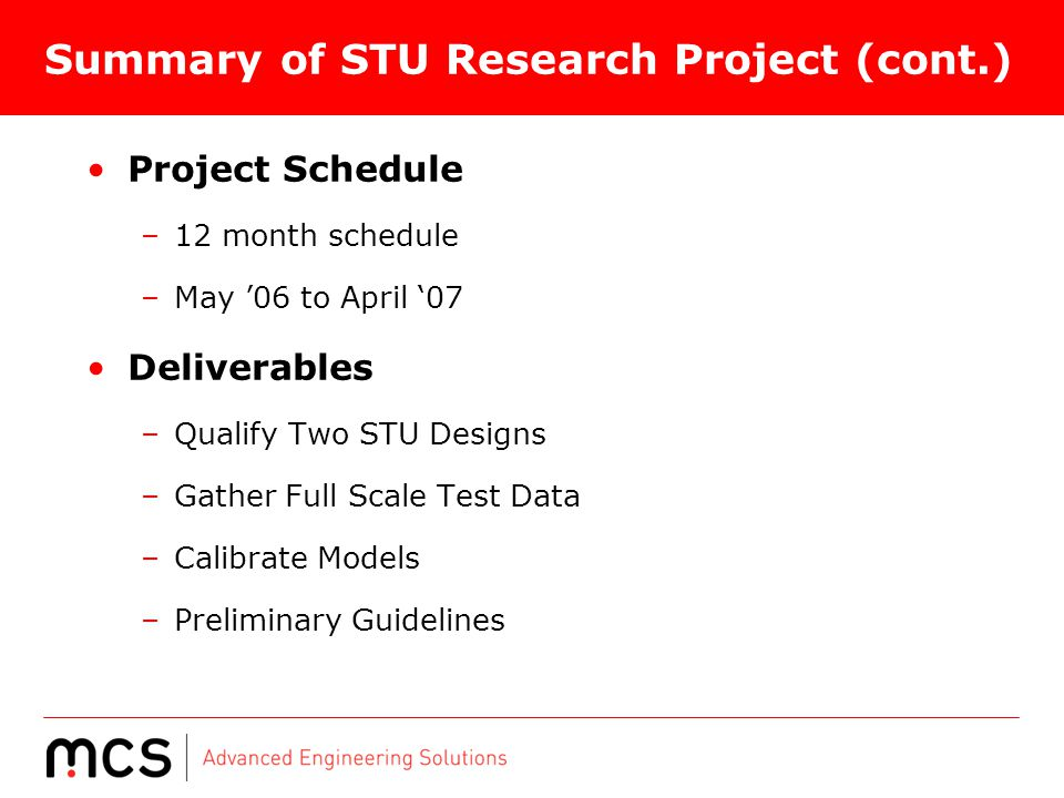 Summary of STU Research Project (cont.)