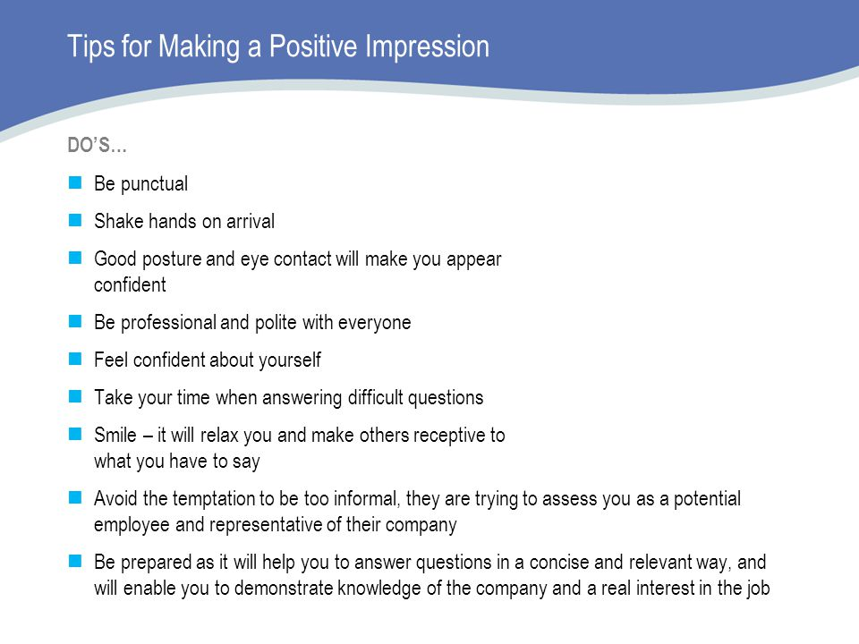 Tips for Making a Positive Impression