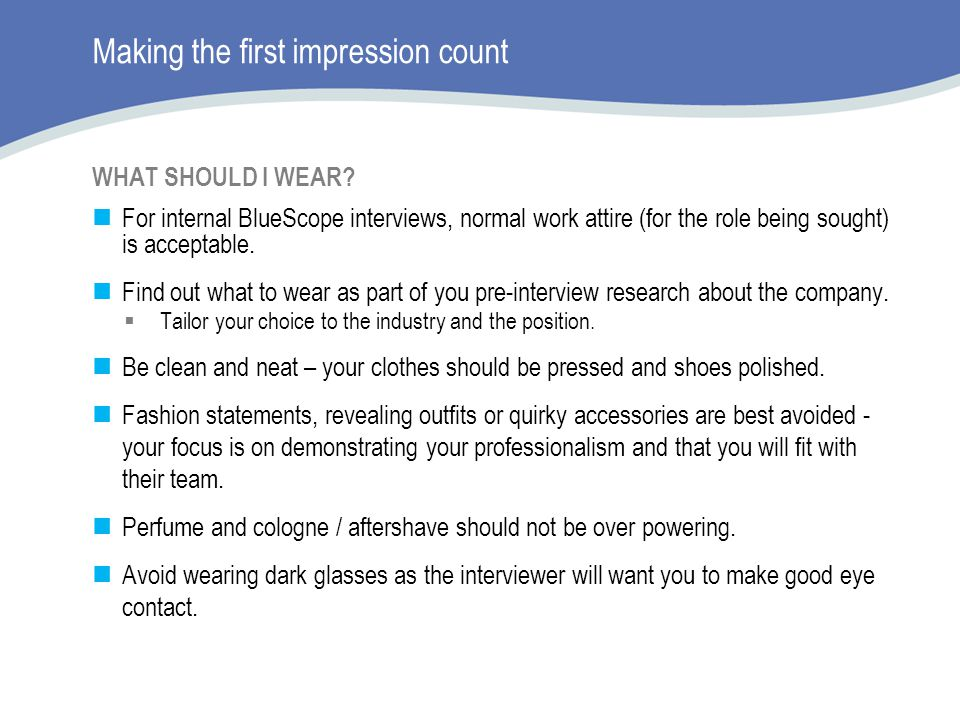 Making the first impression count