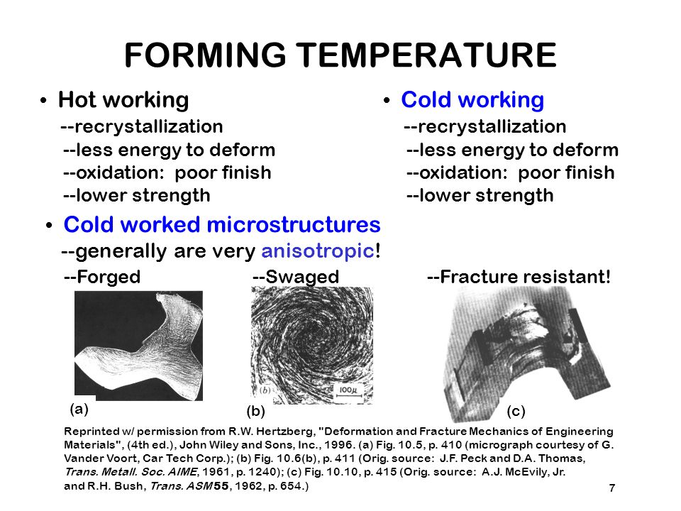 FORMING TEMPERATURE • Hot working --recrystallization • Cold working
