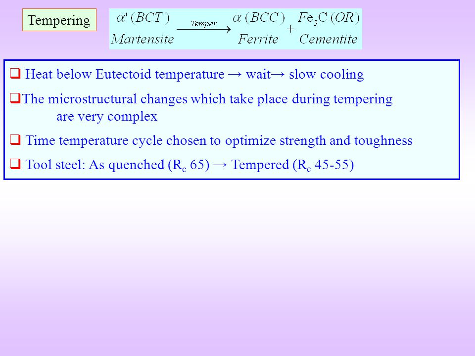 Tempering Heat below Eutectoid temperature → wait→ slow cooling. The microstructural changes which take place during tempering are very complex.