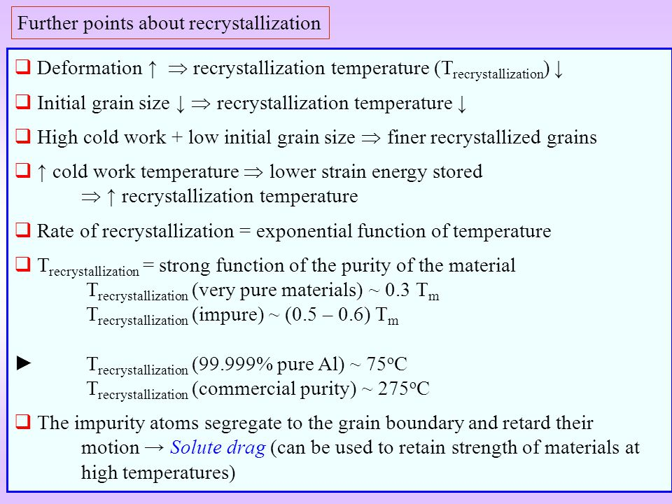 Further points about recrystallization