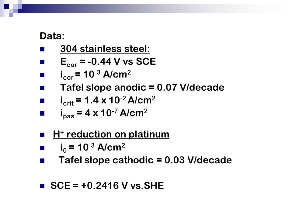 Data: 304 stainless steel: Ecor = -0.44 V vs SCE. icor = 10-3 A/cm2. Tafel slope anodic = 0.07 V/decade.