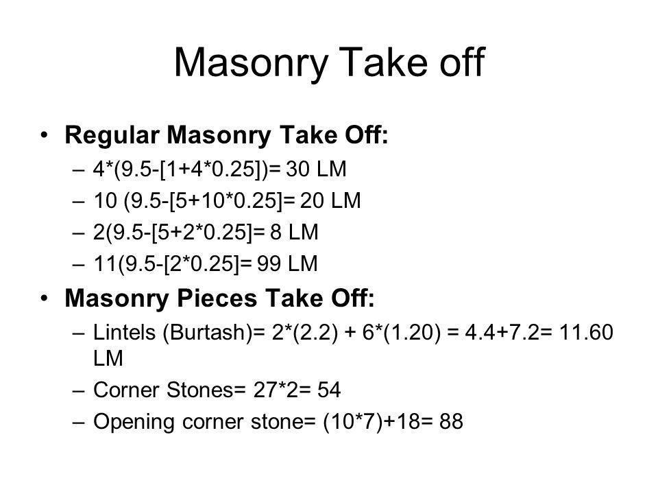 Masonry Take off Regular Masonry Take Off: Masonry Pieces Take Off:
