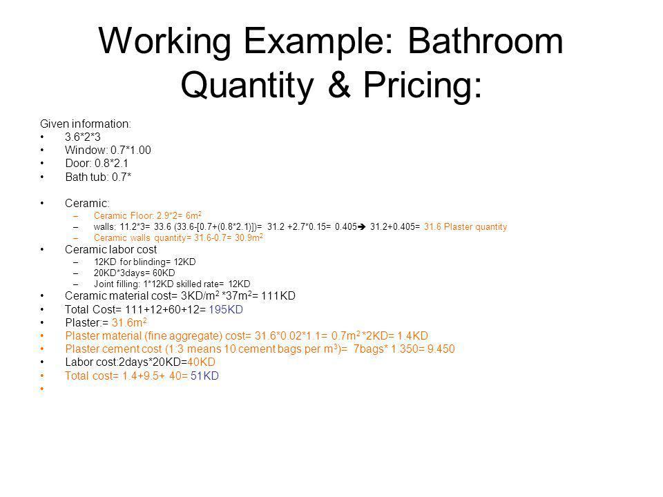 Working Example: Bathroom Quantity & Pricing: