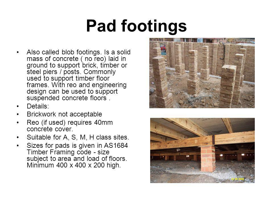 Pad footings
