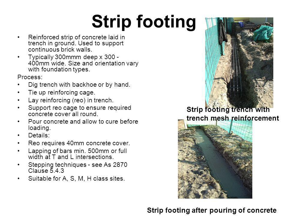 Strip footing Strip footing trench with trench mesh reinforcement