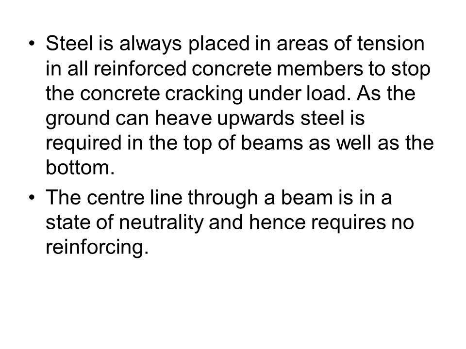 Steel is always placed in areas of tension in all reinforced concrete members to stop the concrete cracking under load. As the ground can heave upwards steel is required in the top of beams as well as the bottom.