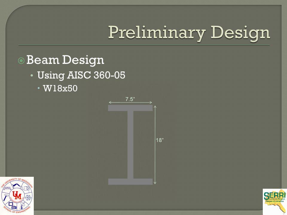 Preliminary Design Beam Design Using AISC 360-05 W18x50 7.5 18