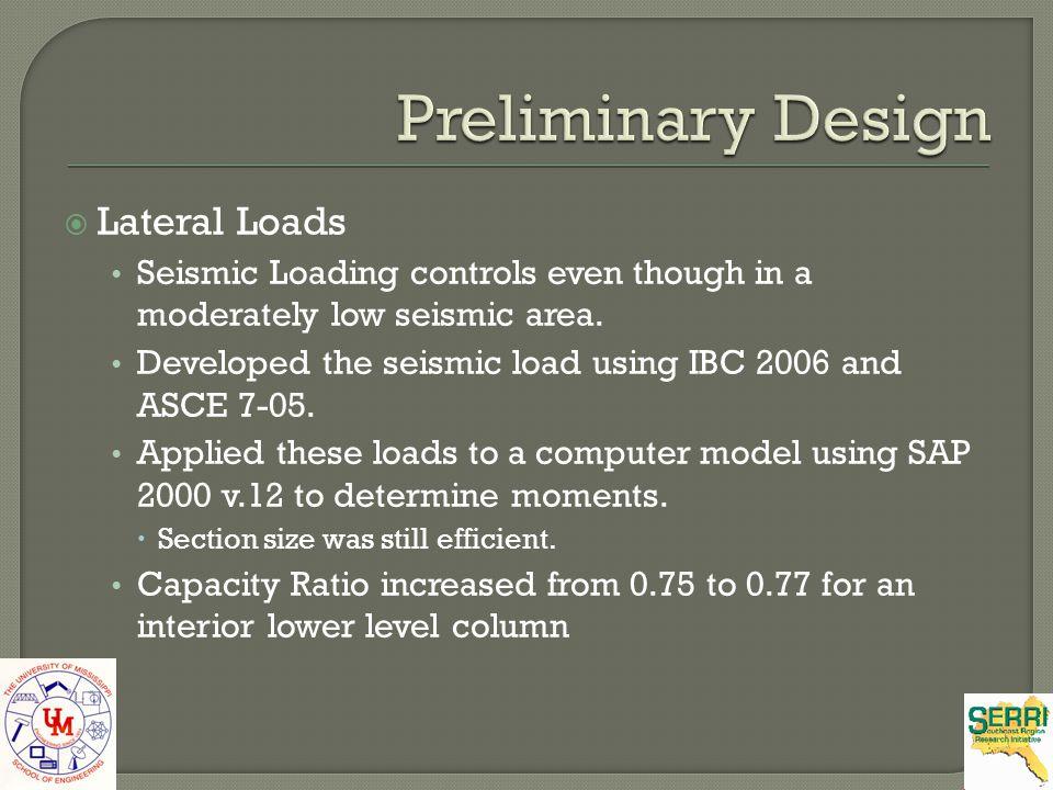 Preliminary Design Lateral Loads