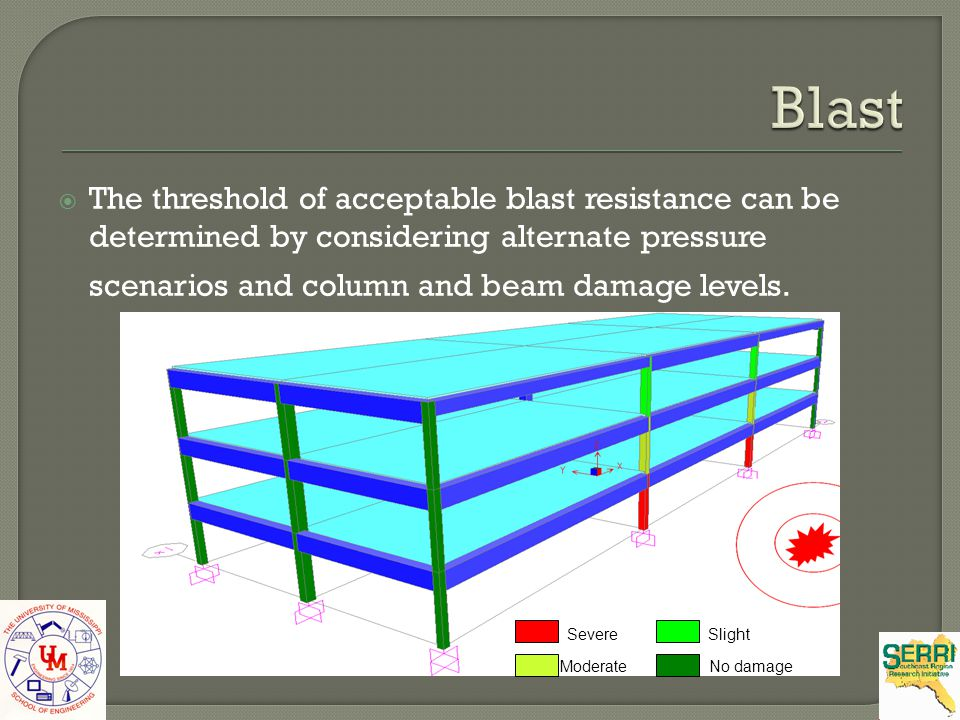 Blast The threshold of acceptable blast resistance can be determined by considering alternate pressure scenarios and column and beam damage levels.