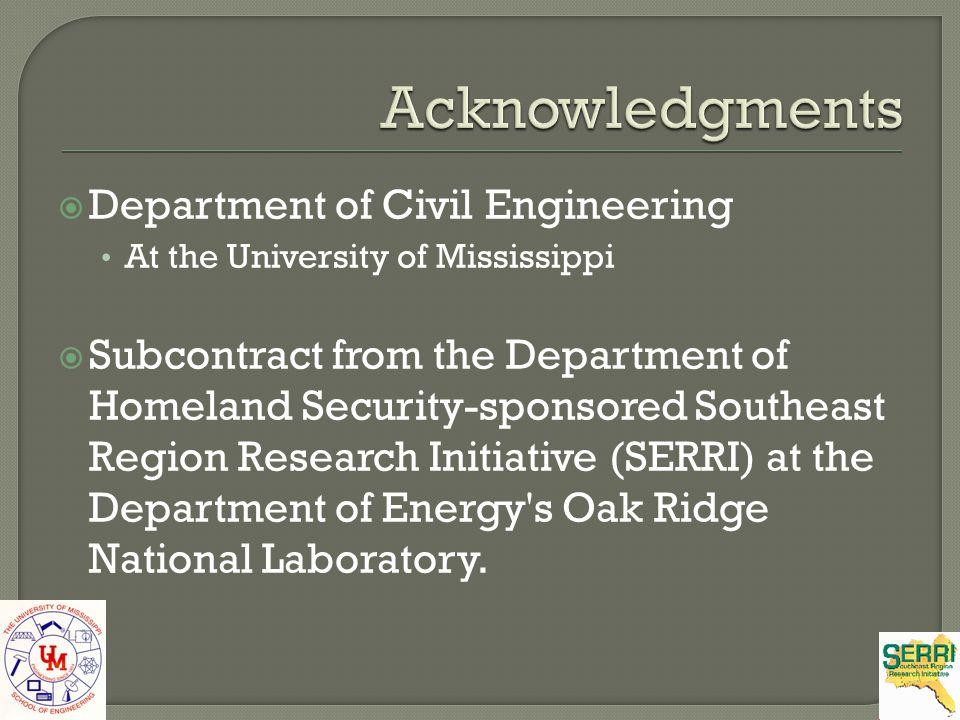 Acknowledgments Department of Civil Engineering