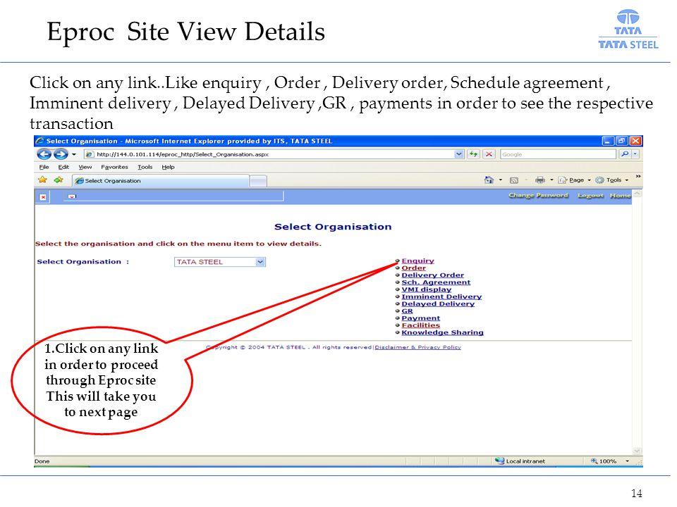 Eproc Site View Details