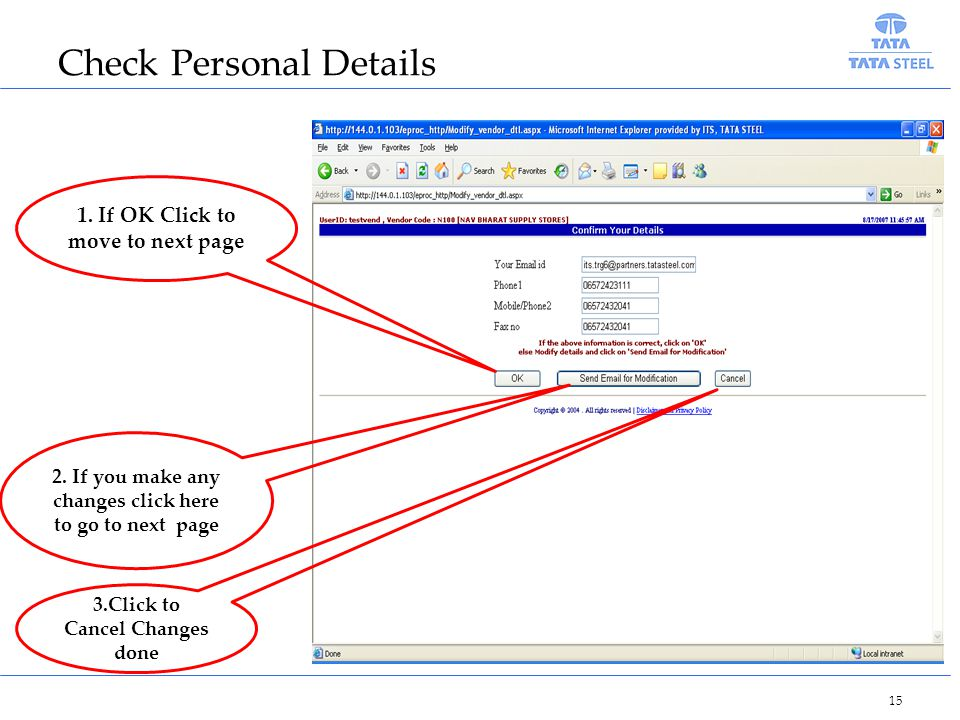 Check Personal Details