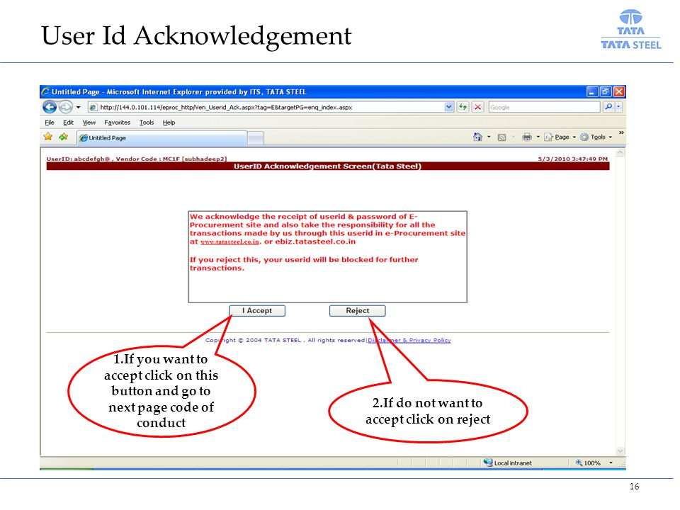 2.If do not want to accept click on reject