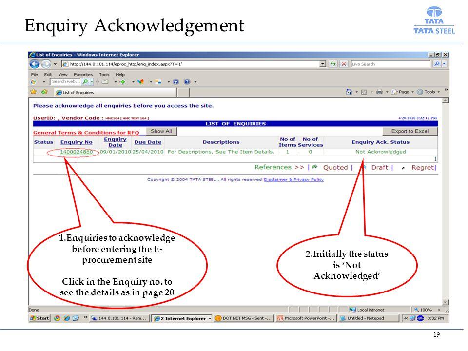 Enquiry Acknowledgement