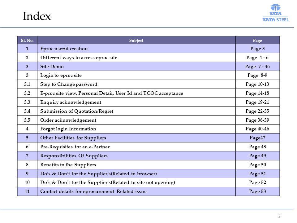 Index 1 Eproc userid creation Page 3 2