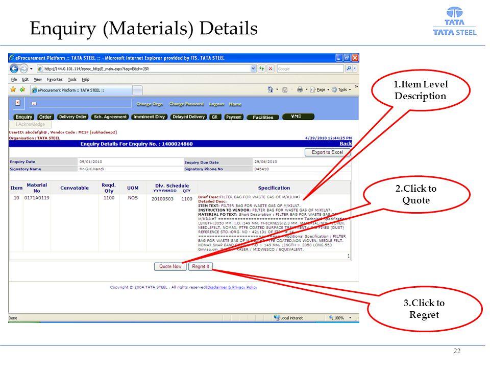 Enquiry (Materials) Details