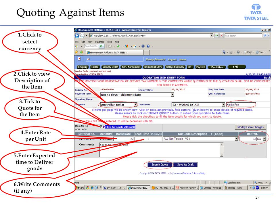 Quoting Against Items 1.Click to select currency