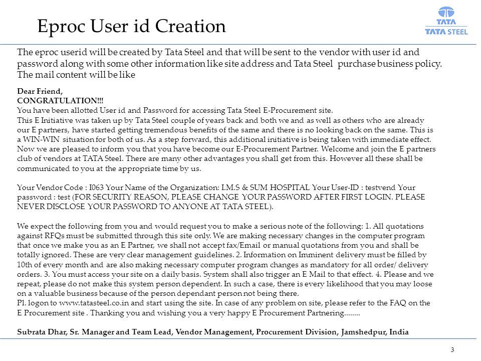 Eproc User id Creation