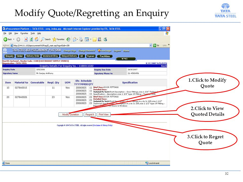 Modify Quote/Regretting an Enquiry