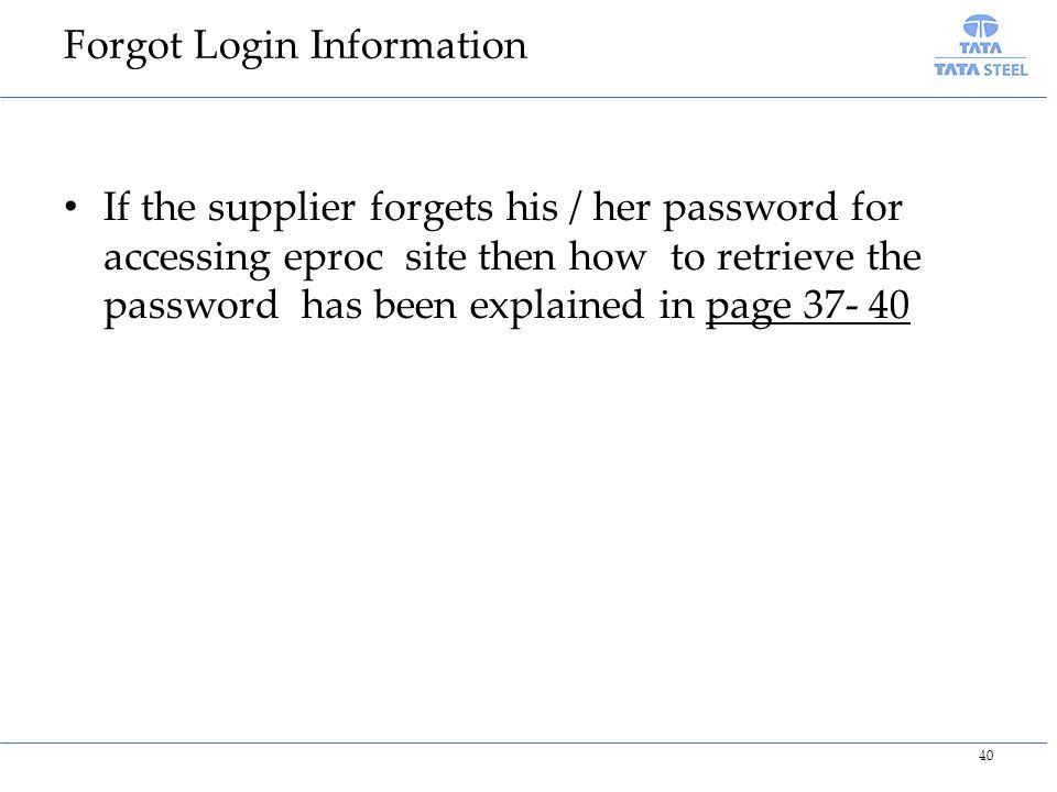 Forgot Login Information