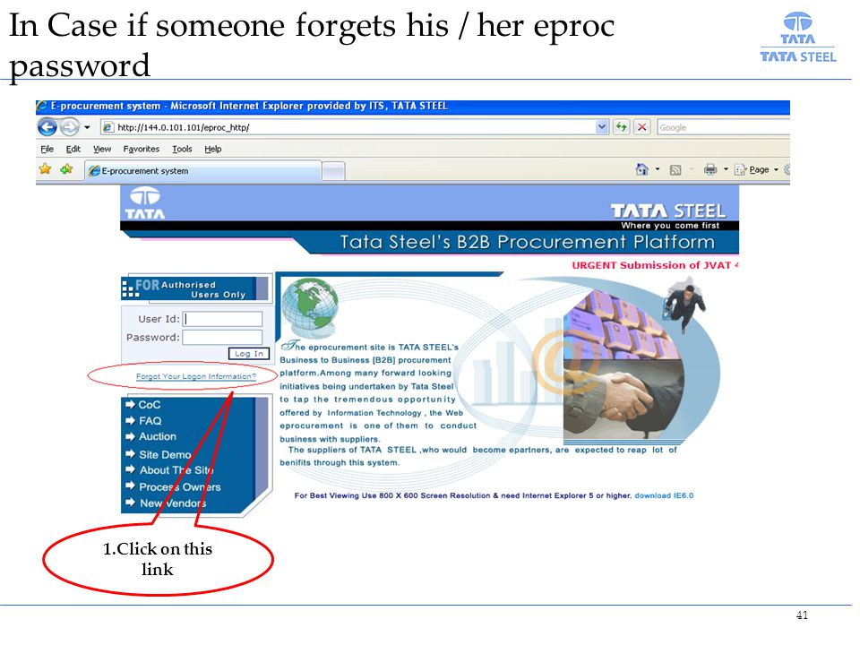 In Case if someone forgets his / her eproc password