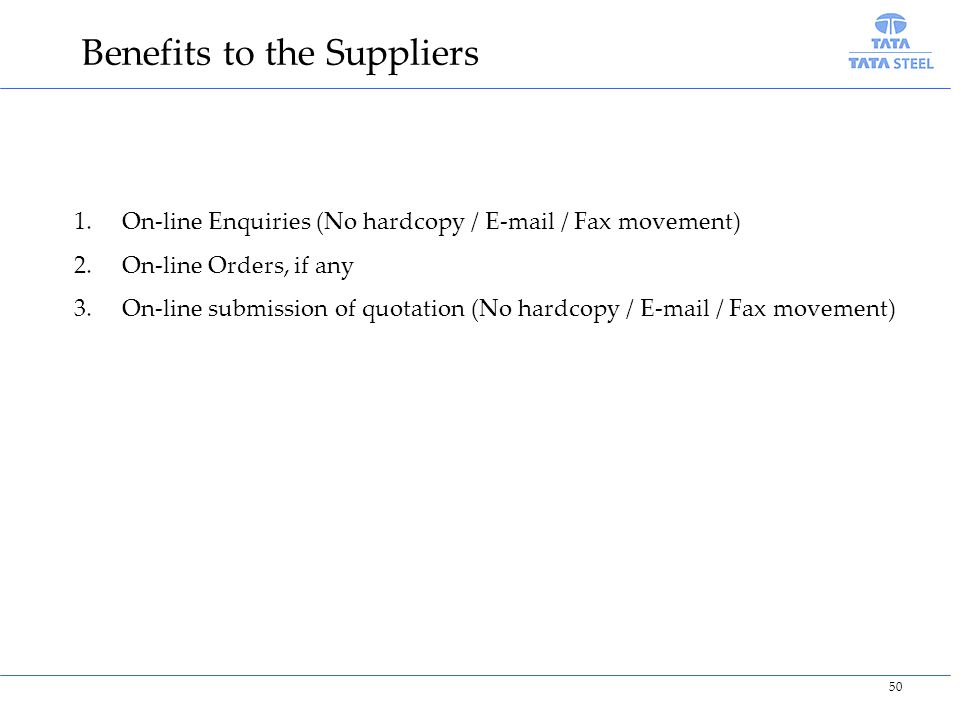 Benefits to the Suppliers