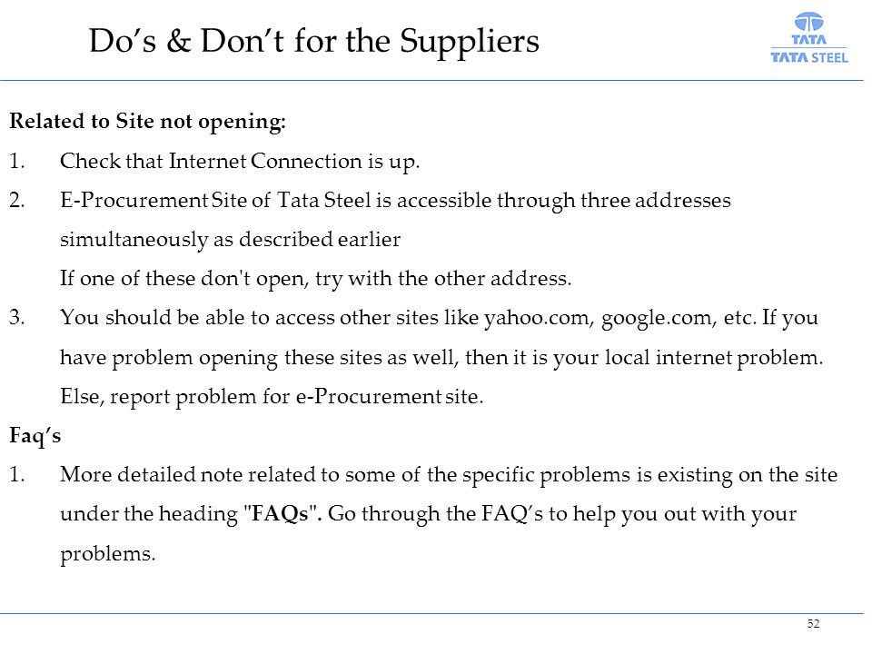 Do's & Don't for the Suppliers