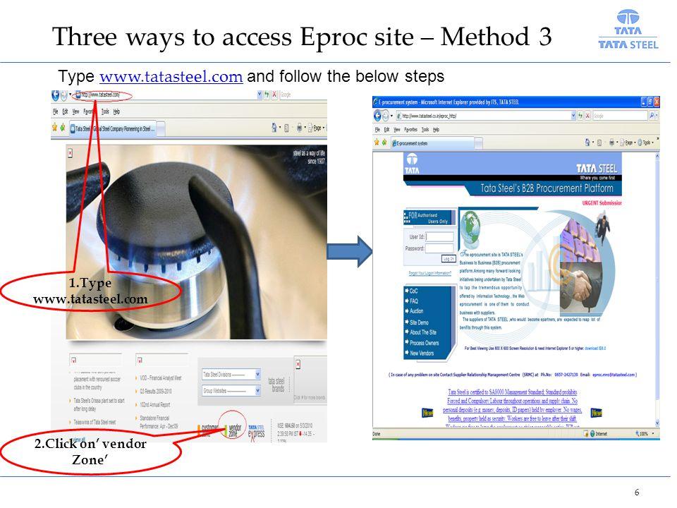 Three ways to access Eproc site – Method 3