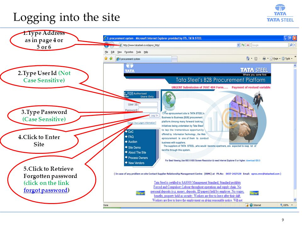 Logging into the site 1.Type Address as in page 4 or 5 or 6