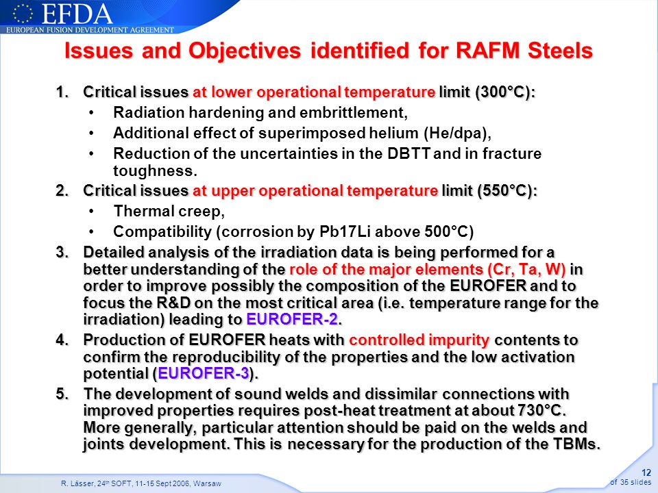 Issues and Objectives identified for RAFM Steels