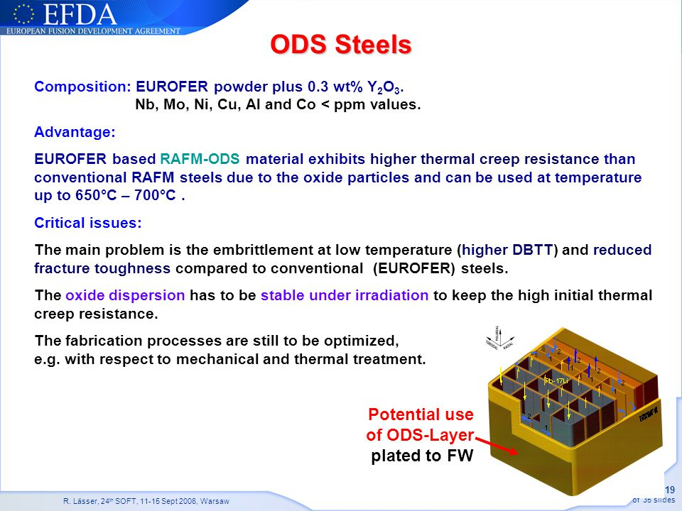 ODS Steels Potential use of ODS-Layer plated to FW