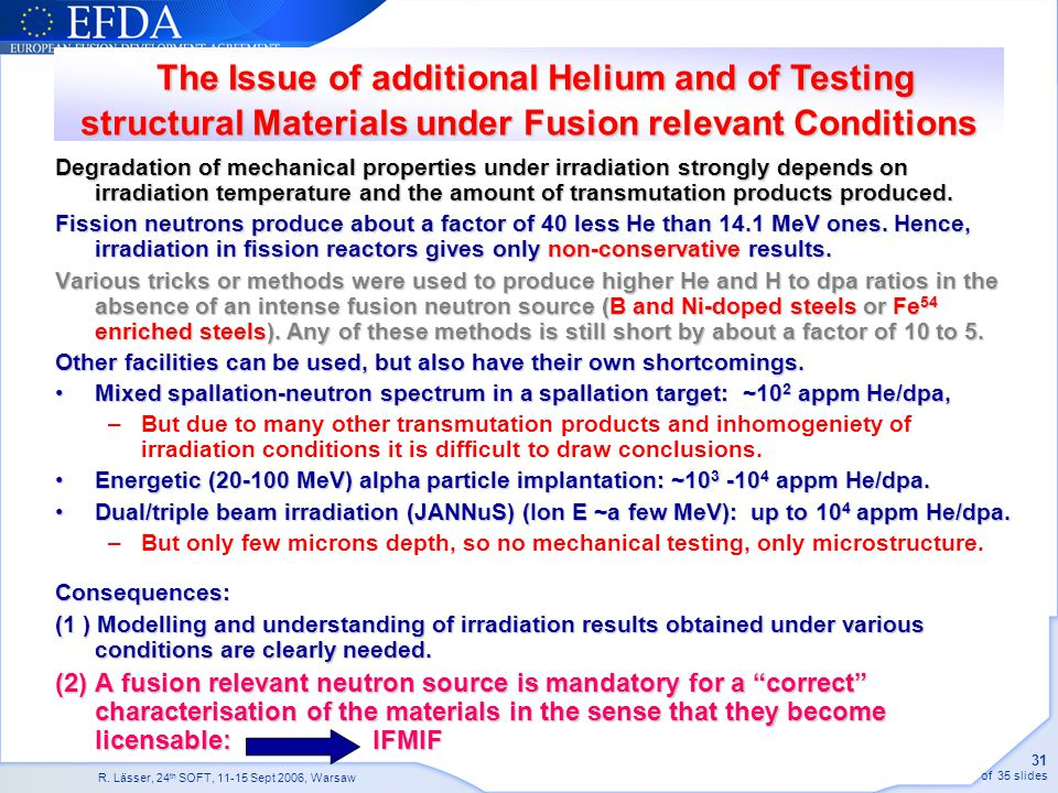 The Issue of additional Helium and of Testing structural Materials under Fusion relevant Conditions