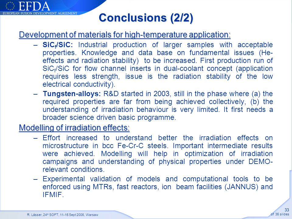 Conclusions (2/2) Development of materials for high-temperature application: