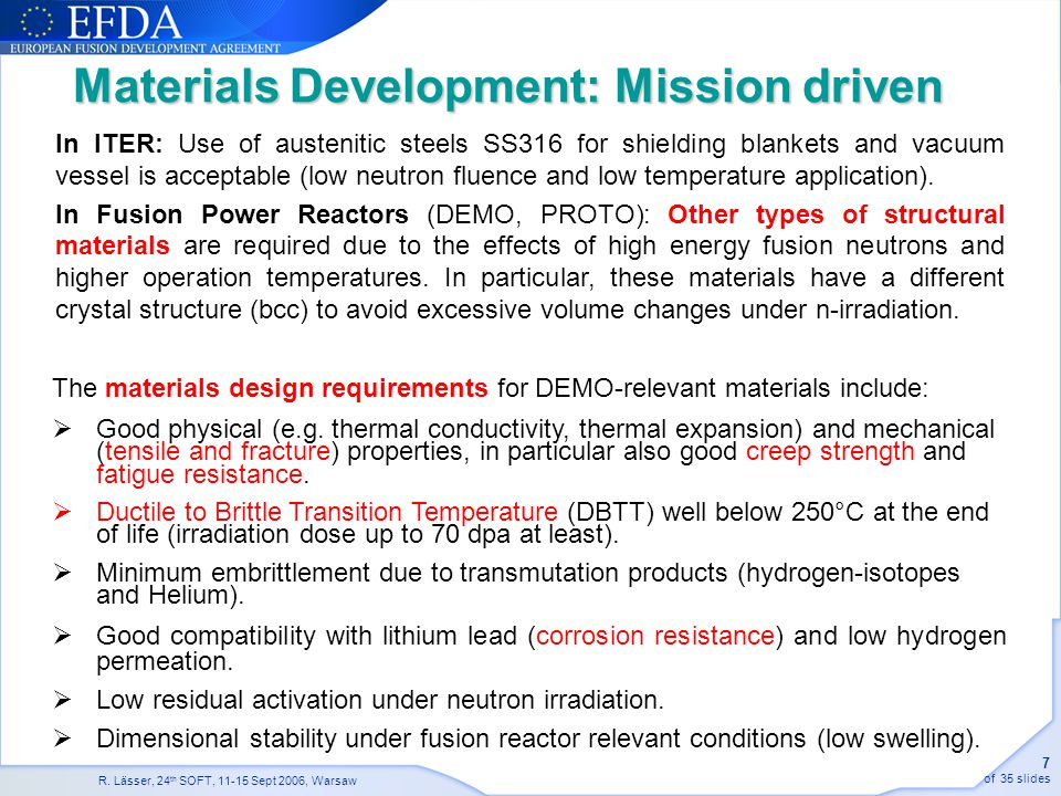 Materials Development: Mission driven