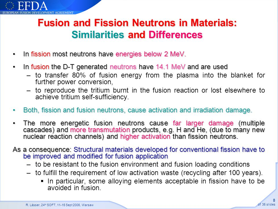 Fusion and Fission Neutrons in Materials: Similarities and Differences