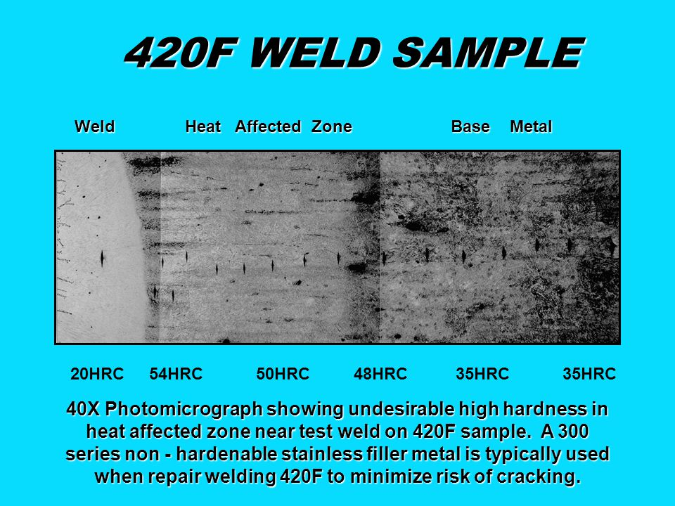 420F WELD SAMPLE Weld Heat Affected Zone Base Metal