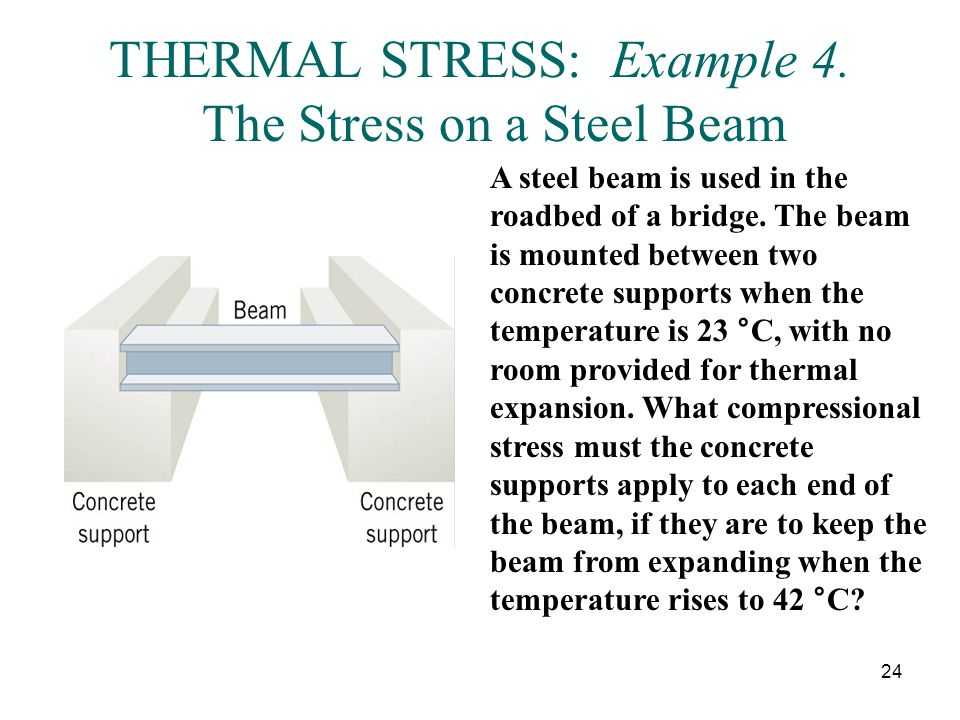 THERMAL STRESS: Example 4. The Stress on a Steel Beam