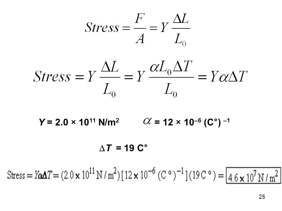Y = 2.0 × 1011 N/m2 = 12 × 10–6 (C°) –1 DT = 19 C°