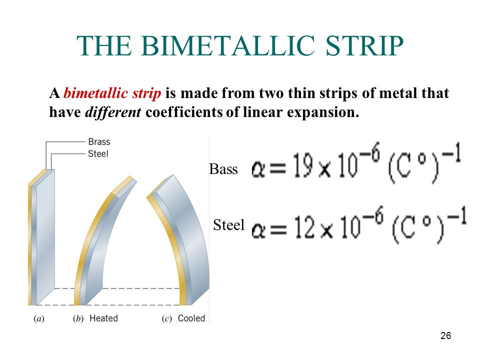 THE BIMETALLIC STRIP A bimetallic strip is made from two thin strips of metal that have different coefficients of linear expansion.