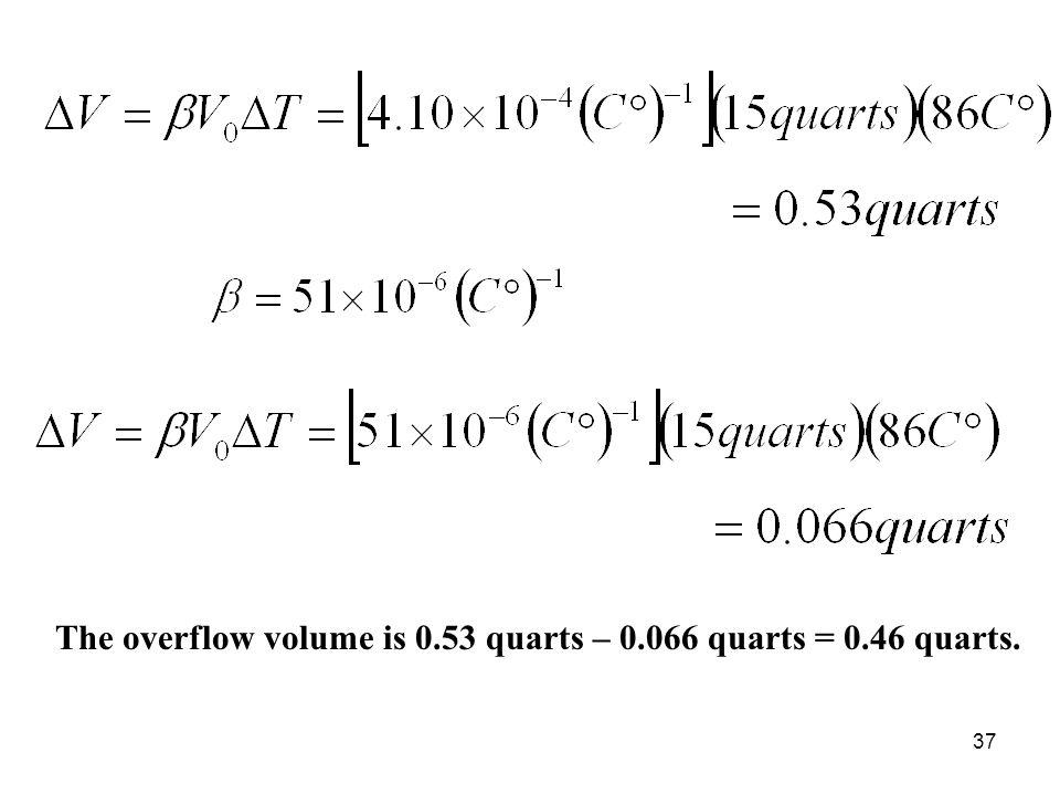 The overflow volume is 0.53 quarts – 0.066 quarts = 0.46 quarts.