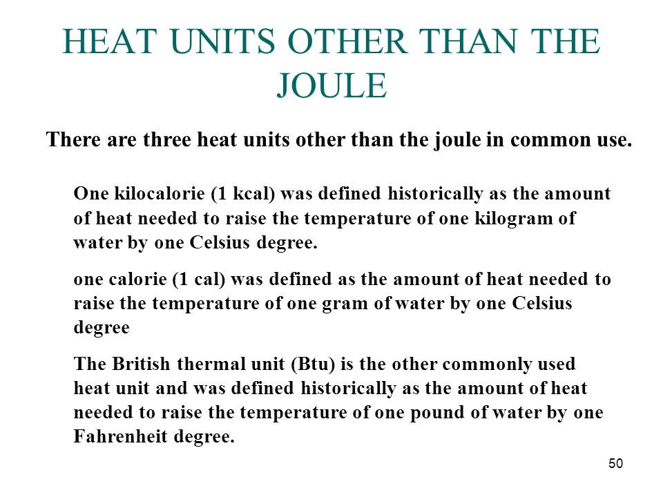 HEAT UNITS OTHER THAN THE JOULE