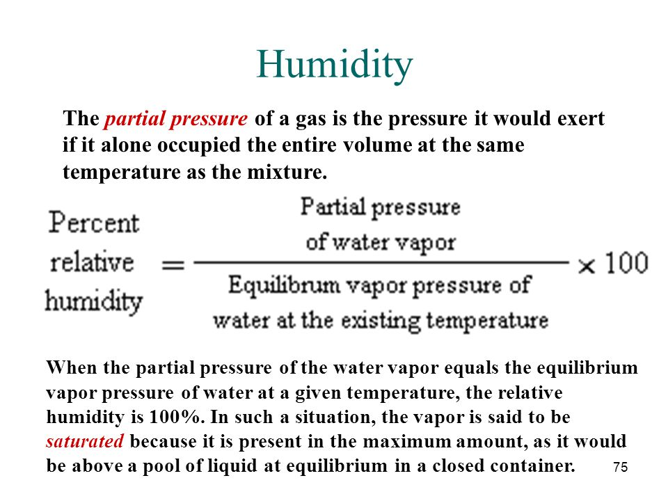 Humidity The partial pressure of a gas is the pressure it would exert if it alone occupied the entire volume at the same temperature as the mixture.