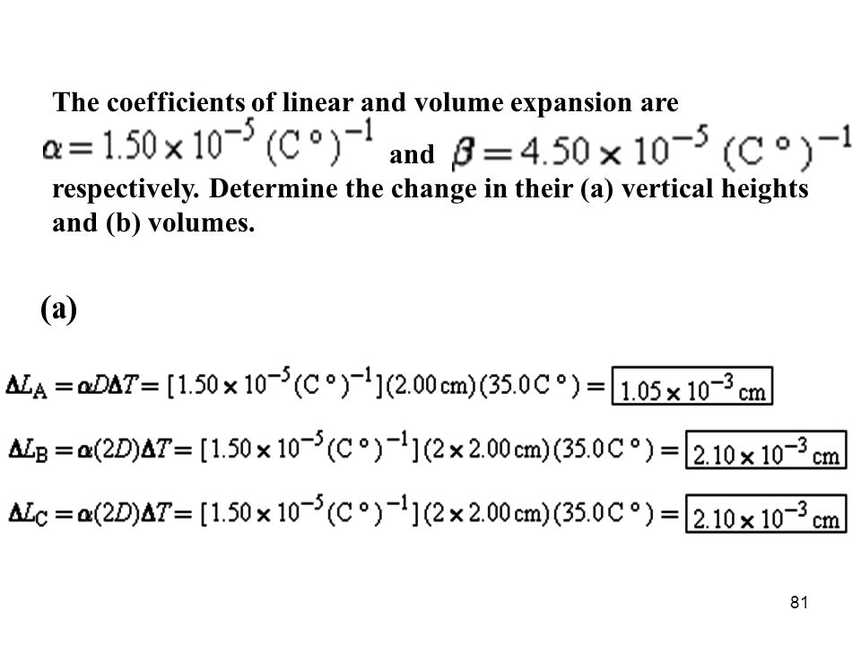 The coefficients of linear and volume expansion are